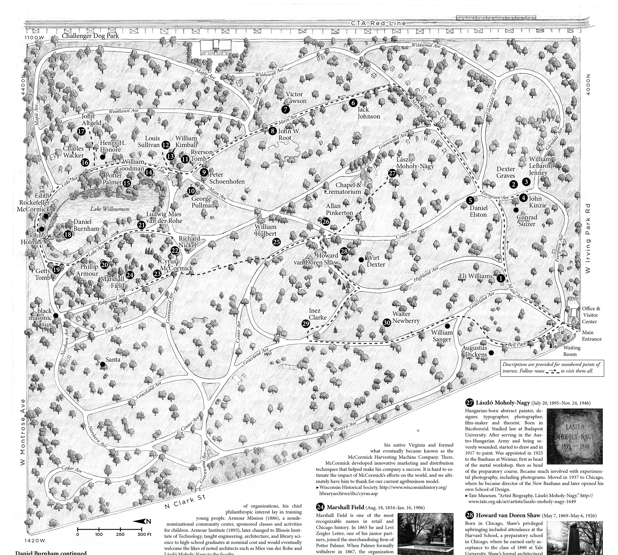 Graceland Cemetery Guide And Map - Chicago map artwork