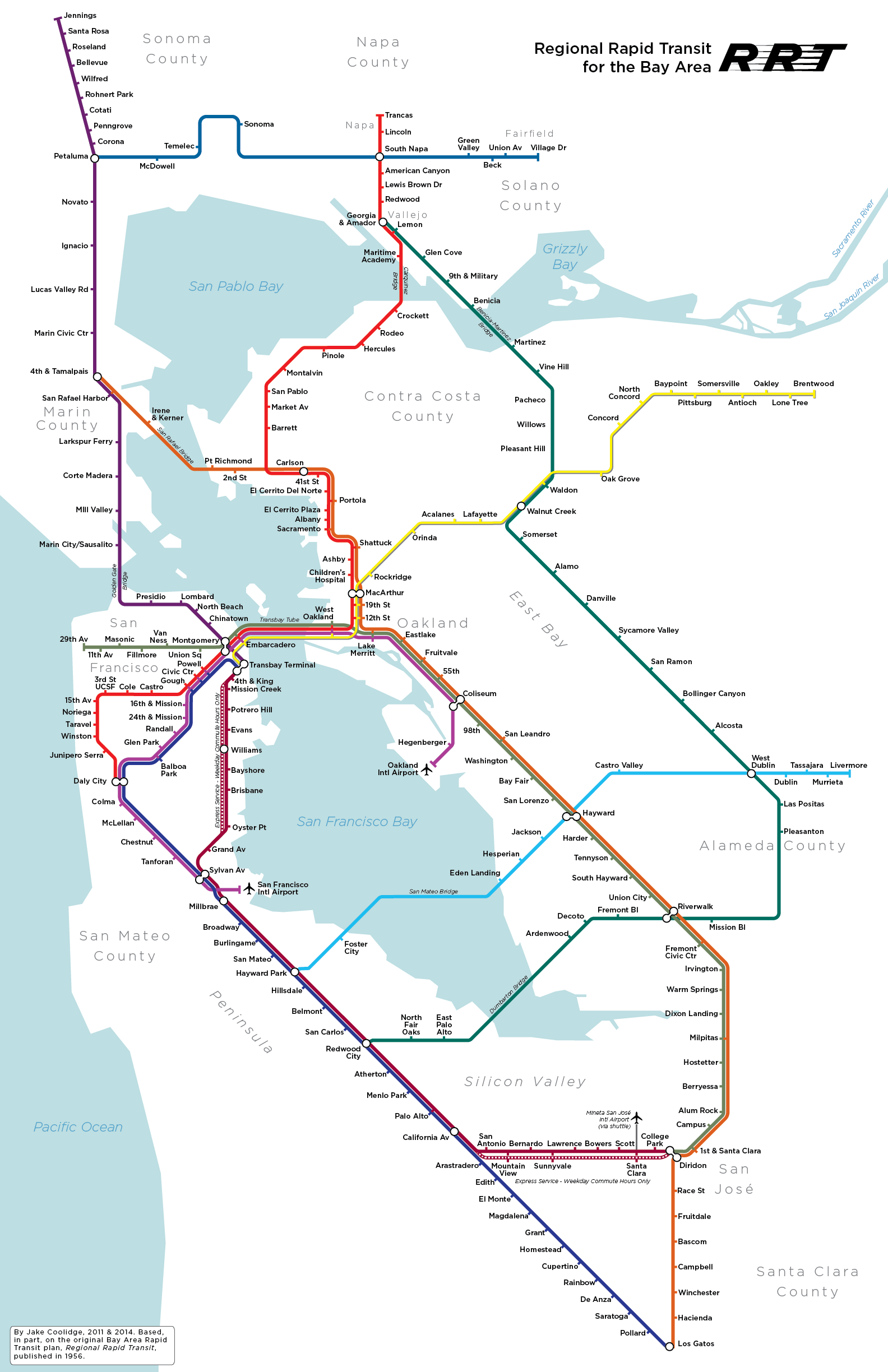 Bay Area Subway Map.Regional Rapid Transit For The Bay Area