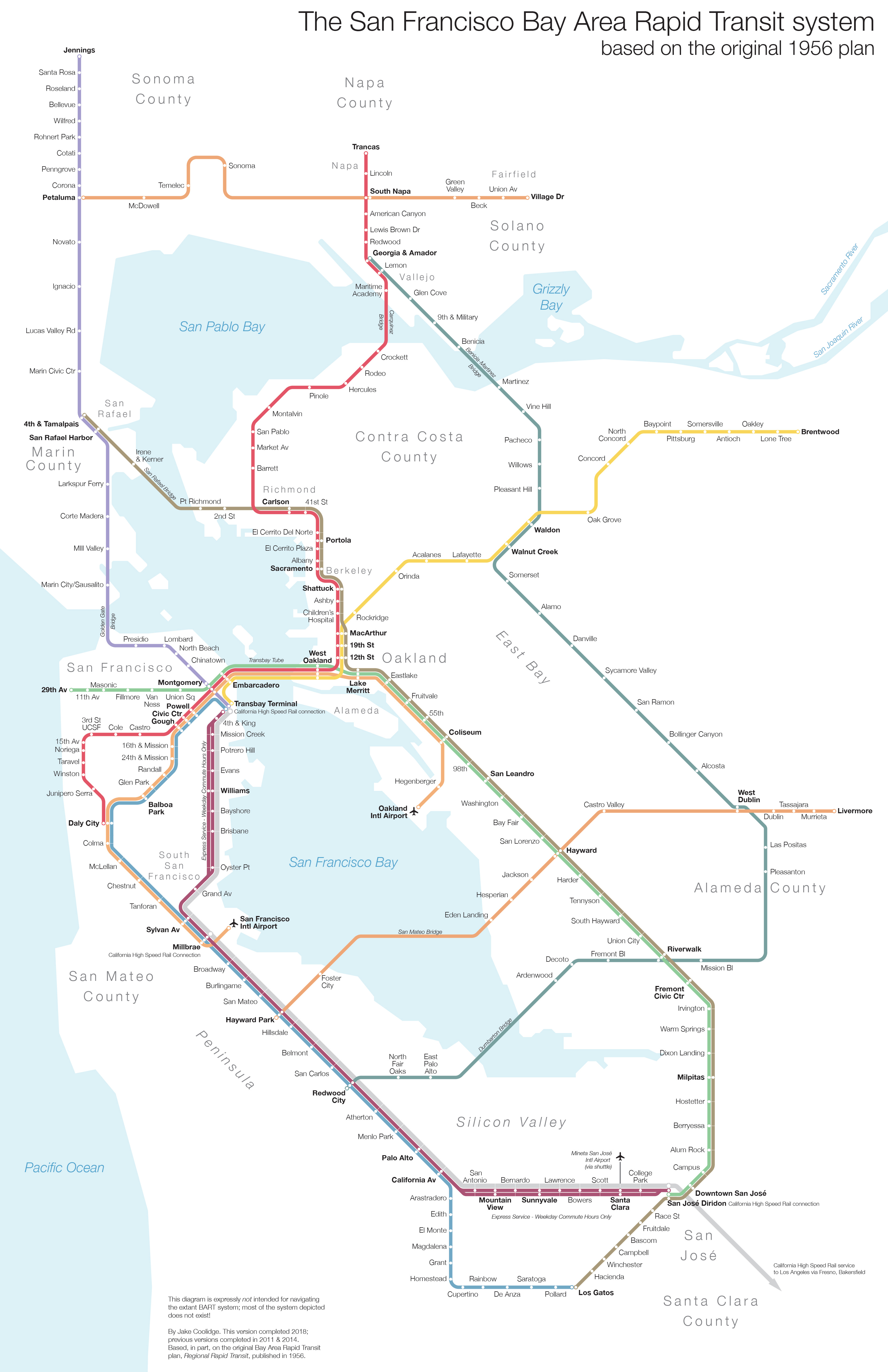 Regional Rapid Transit For The Bay Area Click here for more info! jake coolidge cartography